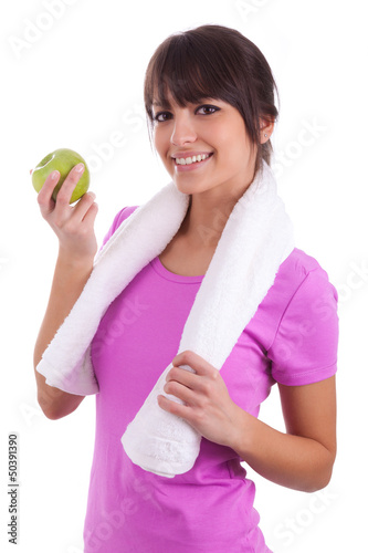 Young caucasian woman holding  an apple