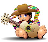 Hippy Boy Cartoon with Guitar-Ragazzo Hippie con chitarra