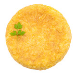 Fresh homemade Spanish tortilla (omelette) on white background