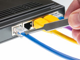 Cat5 cables and router for cyberdefence concept poster