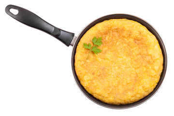 Spanish potato omelette in the frying pan. Clipping path