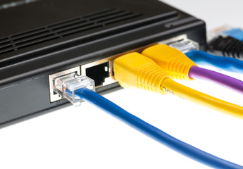 Cat5 cables and router for cyberdefence concept
