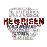 He Is Risen  Religious Words isolated on white