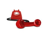 Red telephone on hold