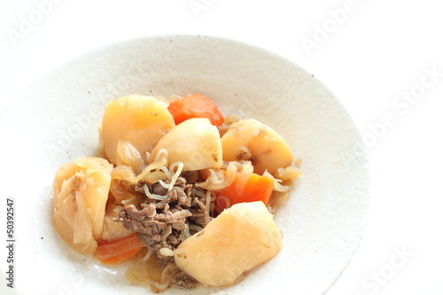 japanese cuisine, simmered potato and beef Nikujaga