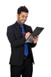 Young businessman with blue tie with a clipboard