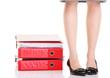 Businesswoman legs pile of ring binders reast break