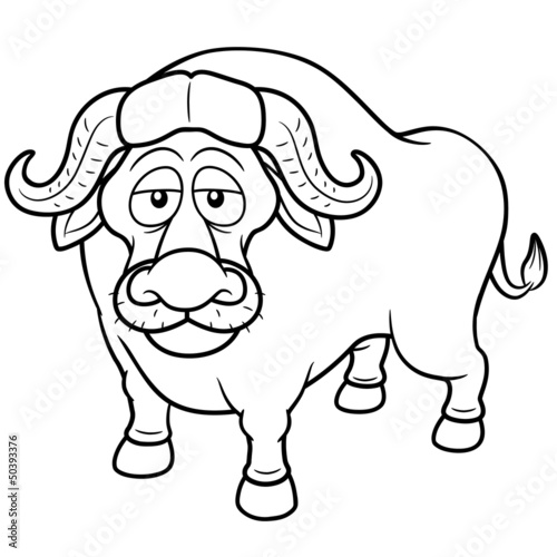 Vector illustration of African buffalo cartoon