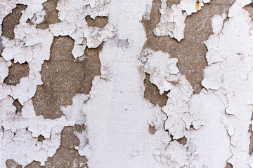 Concrete White Painted wall chipping