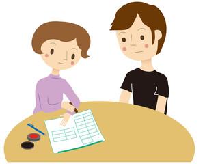 離婚届を書く夫婦