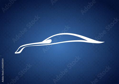 Mavi zeminde güzel bir araba logosu