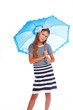 Nice little girl with umbrella in white background
