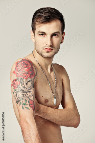 Young Man with a Big Tatto