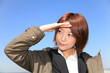 Coat / View / Salute / Beautiful Office Lady / Blue SKY
