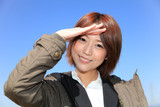 Coat / Smile / Salute / Beautiful Office Lady / Blue SKY