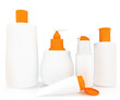 Set of cosmetic products in bottles