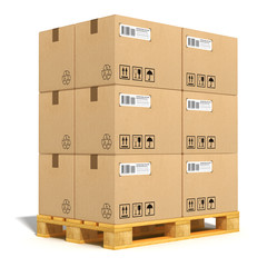 Cardboard boxes on shipping pallet