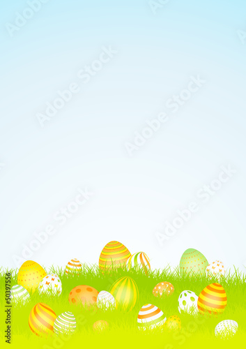 20 Easter Eggs Background Meadow Yellow/Orange Sky DIN A4