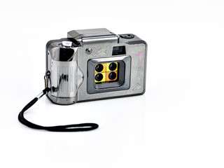 vintage camera on white background.