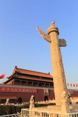 Tiananmen and  marble pillar of china