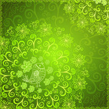 Green abstract floral ornament background
