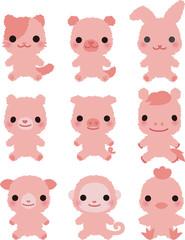 動物たちのピンク色のぬいぐるみ