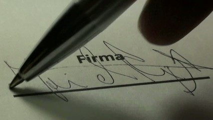 signature of contract with ink pen