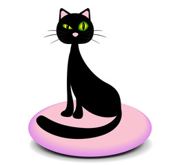Elegant black cat sitting on a pink pillow