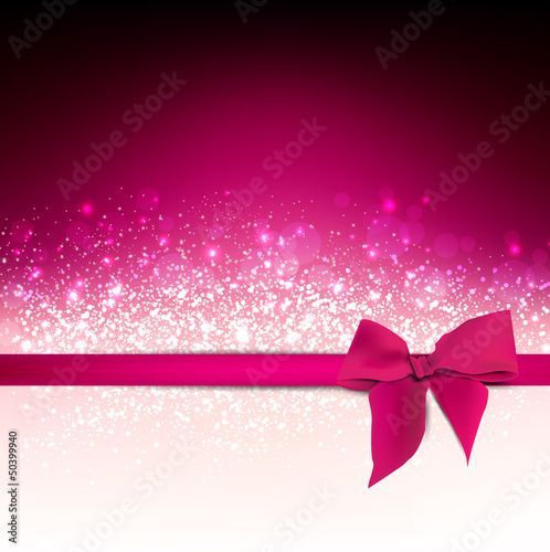 Elegant  Holiday Red background with bow and place for text. Vec