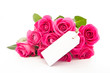 Close up of a beautiful bouquet of pink roses with an empty card