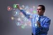 Businessman accessing modern social networking interface
