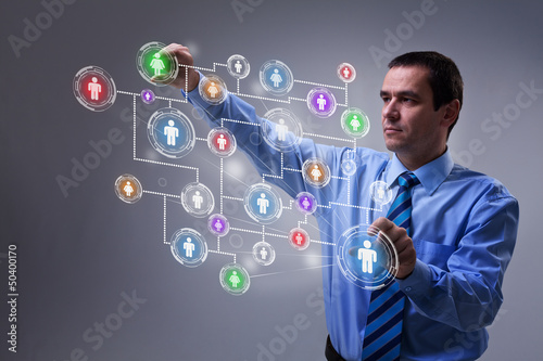 Businessman accessing modern social networking interface