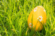 Orange easter egg in the grass