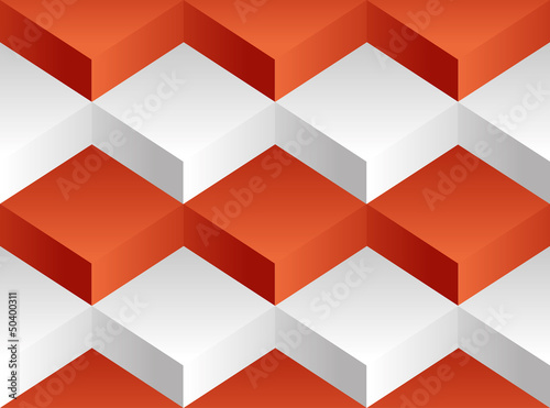 Vector background pattern. Volume white and red blocks - 50400311