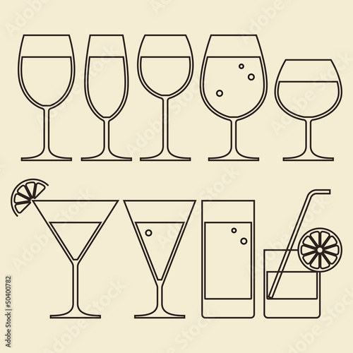 Illustration of Alcohol, Wine, Beer, Cocktail and Water Glasses