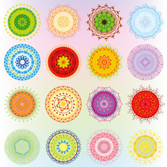 Big set with colorful ornaments in the form of mandalas