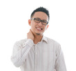 asian chinese Man with neck pain in agony