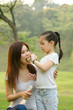 asian chinese girl feeding her mother in outdoor green park