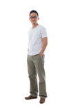 Malay Indonesian male in casual clothes full body with isolated
