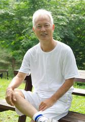 portrait of asian senior after workout