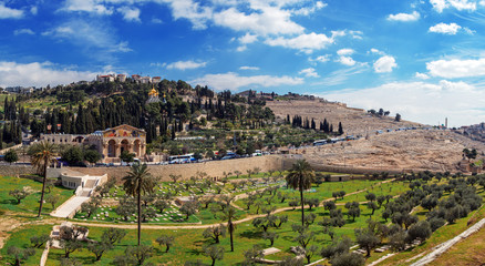 Panorama - Church of All Nations and Mount of Olives, Jerusalem