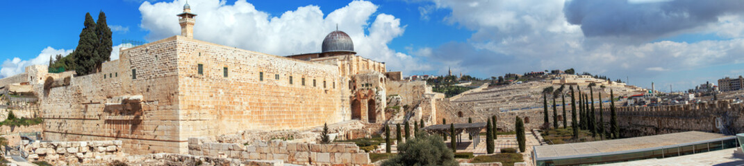 Panorama - Al-Aqsa Mosque on Temple Mount, Jerusalem