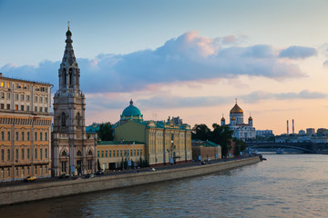 View of Moscow  in  summer sunset