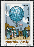 stamp printed in Hungary, shows Dr. Menner air balloon, 1811
