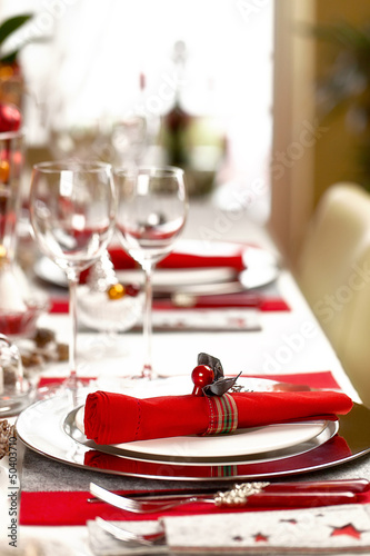 Leinwanddruck Bild Weihnachtlich gedeckte Festtagstafel