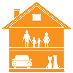 isolated cottage symbol with house and happy family in home
