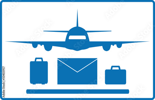 icon with plane, mail envelope and luggage bags