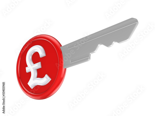 Pound sterling sign on a key.