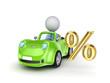 Small car and percents symbol.