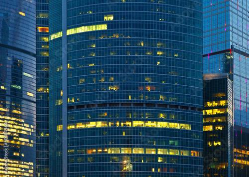 skyscraper illuminated at night